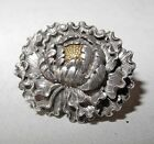 19s CENTURY JAPANESE SILVER AND GOLD BUTTON CARVED AS A MUM