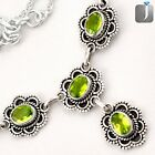 10.93cts NATURAL GREEN PERIDOT 925 STERLING SILVER NECKLACE JEWELRY E62241