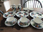 13 Piece Set of SMF Schramberg Hand Painted Pottery~Purple Flowers