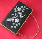 Black Suede Authentic Vintage Beaded Lady's Clutch 1940-50s