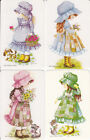 Authentic Vintage Blank Back Swap Card - 4 SINGLE - CUTE PATCHWORK GIRLS