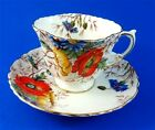 Textured Handpainted Poppies Aynsley Tea Cup and Saucer Set