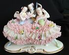 Antique German Volkstedt Dresden Lace 3 Victorian Ladies Figurine Ballerina Lady