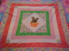 APPLIQUED EASTER BUNNY  ON POINT BABY QUILT TOP, LAP, WALL HANGING 42