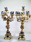 PR VG FRENCH SEVRES GILT BRONZE METAL COBALT HP PORCELAIN FOLIATE CANDELABRA 18
