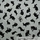 BonEful Fabric Cotton Quilt Calico Easter Spring Bunny Rabbit Animal Black SCRAP