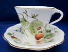 Flat Cup & Saucer Coalport Bone China England STRAWBERRY Scalloped Brown Trim