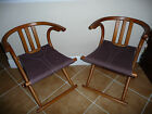 Thonet , Folding Camp Chairs, (pair) Modern Design; Wood & Fabric