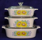 TRUE CORNING casserole Corelle Sunsations Sunflower 1 + 1 1/2  + 2 Qt pyrex lid