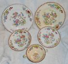 VINTAGE SET 5 PC MINTON CHINA ENGLAND GLOBE SMOOTH CUCKOO PLATES/BOWLS/CREAM SUP