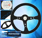 Universal 350mm Jdm Steering Wheel Suede Leather Blue Stitching Type R Style New