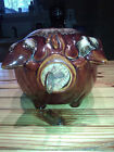 VINTAGE 1957 HULL POTTERY CORKY PIG PIGGY BANK BROWN TURQUOISE DRIP GLAZE