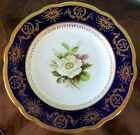 Coalport Antique Cobalt Blue Gold & White Rose Plate Hand Painted Artist Signed