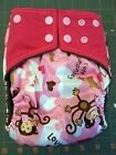 Happy Flute AIO OS charcoal bamboo cloth diaper, hearts and monkeys