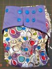 Happy Flute AIO OS charcoal bamboo cloth diaper, swirls and dots