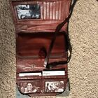 BRIGHTON BROWN LEATHER CROC CROSSBODY BAG WALLET PURSE ORGANIZER 7 1/2 DEPTH 2'
