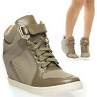 Hot Taupe Ankle Strap Lace Up High Top Hidden Wedge Heel Sneaker Bootie US 8.5