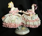 Antique German Volkstedt Dresden Lace Victorian Ballerina lady Figurine 2 Girls