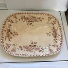 Antique IronStone Platter Brown Floral Transfer 17.5