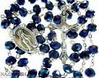 Deep Blue Crystal Beads Rosary Catholic Necklace Miraculous Medal