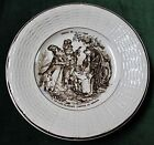 Antique Brown Transferware Plate DIGOIN SARREGUEMINES Fables de la Fontaine #1