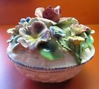 Collectible Ceramic Flower Rose Daisy Basket Design Dish Hand Painted from Italy
