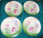 Eagle China  Austria Hand-painted Plates 6 inch Roses Lot of 4 Gold Trim Vintage