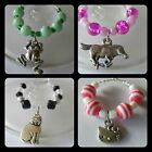 Horse Cats Frog Kitten Animal Pets wine glass charms +beads