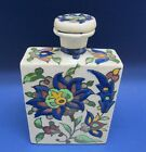 Hand Painted Multicolor Floral Pottery TEA CADDY Bottle w/ Stopper