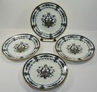 ANTIQUE 1850'S CAULDON FLOW BLUE LUNCHEON PLATES (4) * FREE SHIPPING USA *