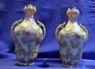 NIPPON  MORIAGE LATE 19TH CENTURY PAIR OF VASES - HAND PAINTED-JAPAN