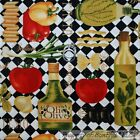 BonEful Fabric FQ Cotton Quilt B&W Red CHEF Italian Food Cook Pasta Lg Olive Oil