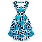 Hearts and Roses London Blue Dot Floral 50s Vintage Tea Party Dress