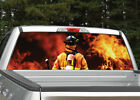 Firefighter Flames Fire Rear Window Decal Graphic For Truck Suv