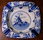 Vintage Delfts Blauw Porcelain Ashtray Hand Painted Blue Windmill #673
