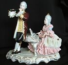 Antique German Dresden Lace Victorian Lady Piano Gent Couple Figurine Figure