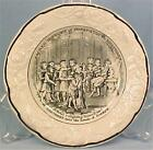 Rare Antique History of Joseph Childs Plate Black Transferware Soft Paste