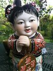 Asian Chinese Porcelain Girl w/Coin Hand Painted Figurine Statue (Prosperity)