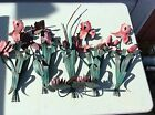 VINTAGE WROUGHT IRON ORCHIDS FLOWER CANDLE HOLDER WALL DECOR REPAINT COLLECTION