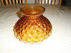 Vintage Amber Quilted Diamond Hurricane Style Glass Lamp Shade Globe 6 tall