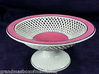 Antique Early 1900's MAX ROESLER Bavaria Porcelain Reticulated Compote Pink Rim
