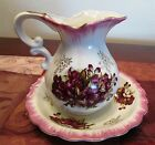BEAUTIFUL FINE CHINA PITCHER WITH BOWL ROYAL CROWN MAGENTA BLOSSOMS, GOLD SPRIGS