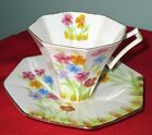 Melba Art Deco HAND PAINTED Bone China SPRING FLOWERS Cup & Saucer 1930s