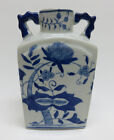 Chinese Hand Painted Blue & White Porcelain Vase w/ Handles ~ Blue Onion