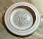 VINTAGE SCHEIER ART POTTERY PLATE - DECORATED W/ 2 STYLIZED FACES  - MINT COND.
