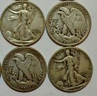 Lot of 4 Silver Walking Liberty Half Dollar Lot 200 FACE VALUE 4 COINS