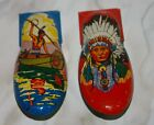 Set 2 TIN LITHO CRICKET CLICKERS 60s Western Indian Chief Brave Canoe Vintage