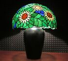 BEAUTIFUL VINTAGE ARTS & CRAFTS LAMP w/LARGE NATURE INSPIRED STAINED GLASS SHADE