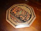 VINTAGE Hand Painted Wood Etching Plate Wall Hanging Tabletop Decor Orient