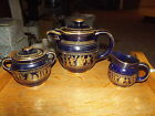 Tea Pot Sugar Bowl Creamer Spyropoulos Hand made Greece 24 Kt Gold Cobalt Blue